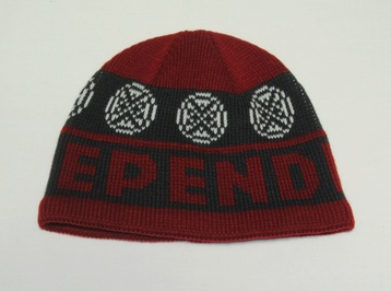 Independent Woven Cross Beanie (oxblood/black)